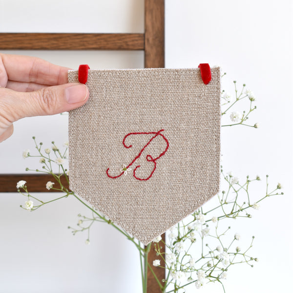 Custom banner flag, embroidered fabric pennant banner, Initial B, handmade by Stitch Galore