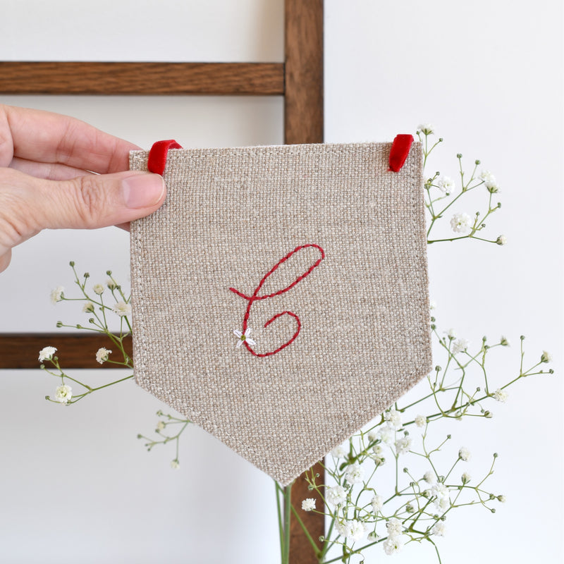 Custom banner flag, embroidered fabric pennant banner, Initial C, handmade by Stitch Galore