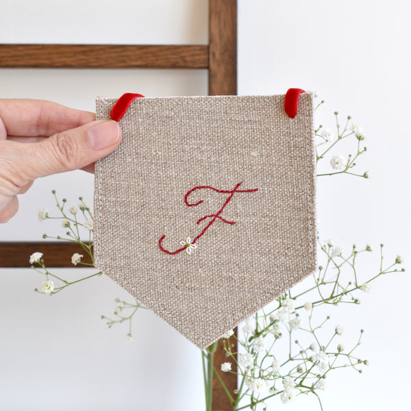 Custom banner flag, embroidered fabric pennant banner, Initial F, handmade by Stitch Galore