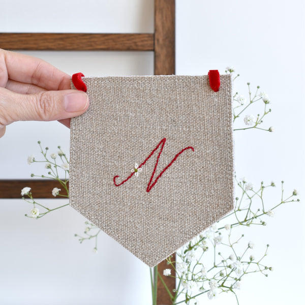 Custom banner flag, embroidered fabric pennant banner, Initial N, handmade by Stitch Galore