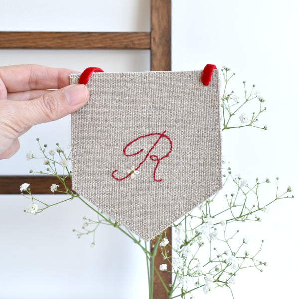 Custom banner flag, embroidered fabric pennant banner, Initial R, handmade by Stitch Galore