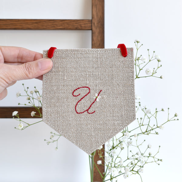 Custom banner flag, embroidered fabric pennant banner, Initial U, handmade by Stitch Galore