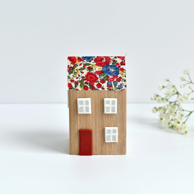 tiny wooden house ornament with red Emma and Georgina Liberty fabric handmade by stitch galore