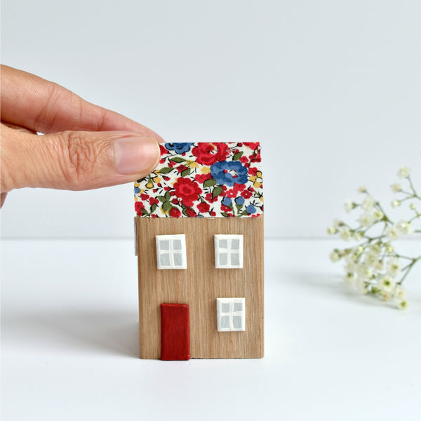 little wooden house ornament with red Liberty of London floral fabric handmade by stitch galore