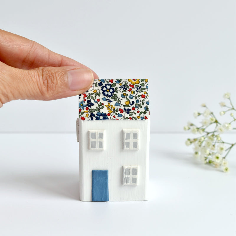 little wooden house ornament with blue Liberty of London floral fabric handmade by stitch galore
