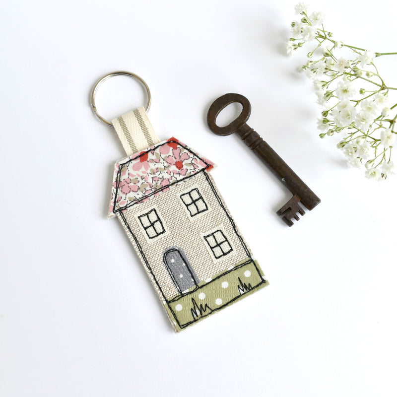 Embroidered house keychain, house key ring with pink fabric handmade by Stitch Galore
