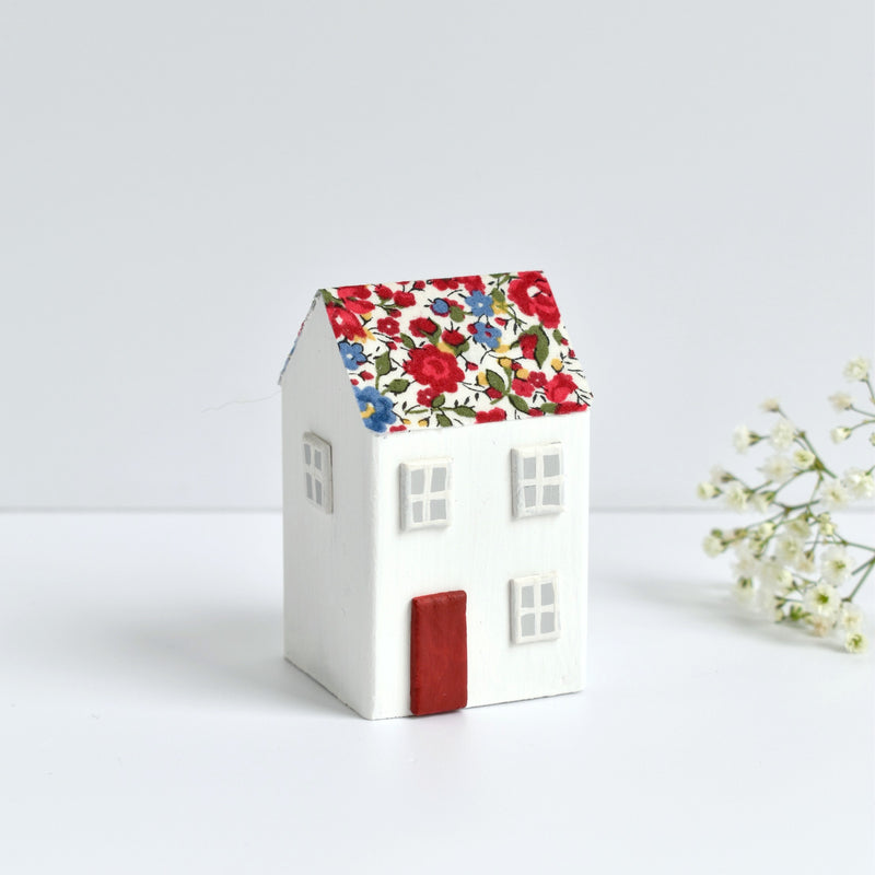 miniature wooden house ornament with red Emma and Georgina Liberty fabric handmade by stitch galore