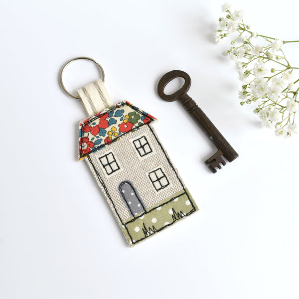 Embroidered house keychain, house key ring with red Liberty fabric handmade by Stitch Galore