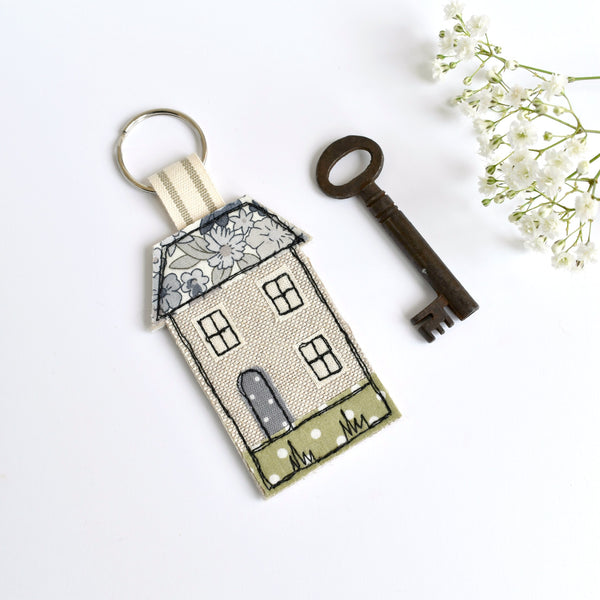 Embroidered house keychain, house key ring with blue fabric handmade by Stitch Galore