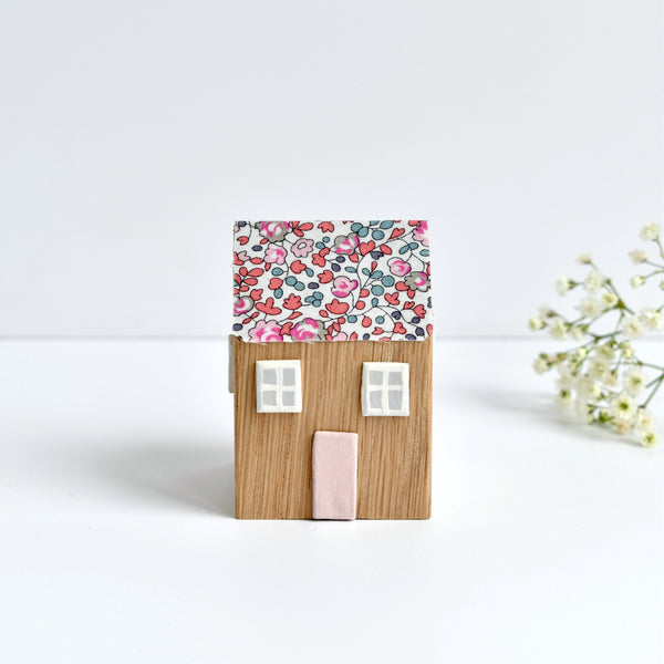 mini wooden house ornament with pink Eloise Liberty fabric handmade by stitch galore