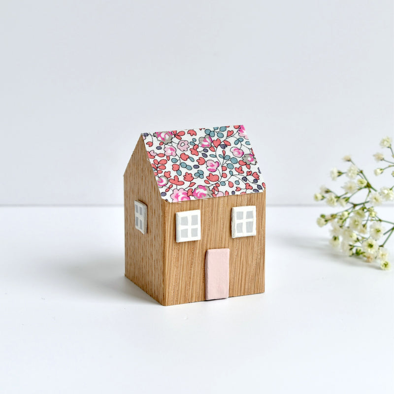 miniature wooden house ornament with pink Eloise Liberty fabric handmade by stitch galore