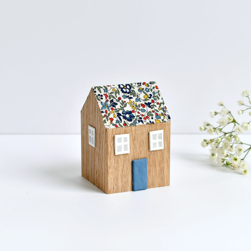 miniature wooden house ornament with blue Katie and Millie Liberty fabric handmade by stitch galore