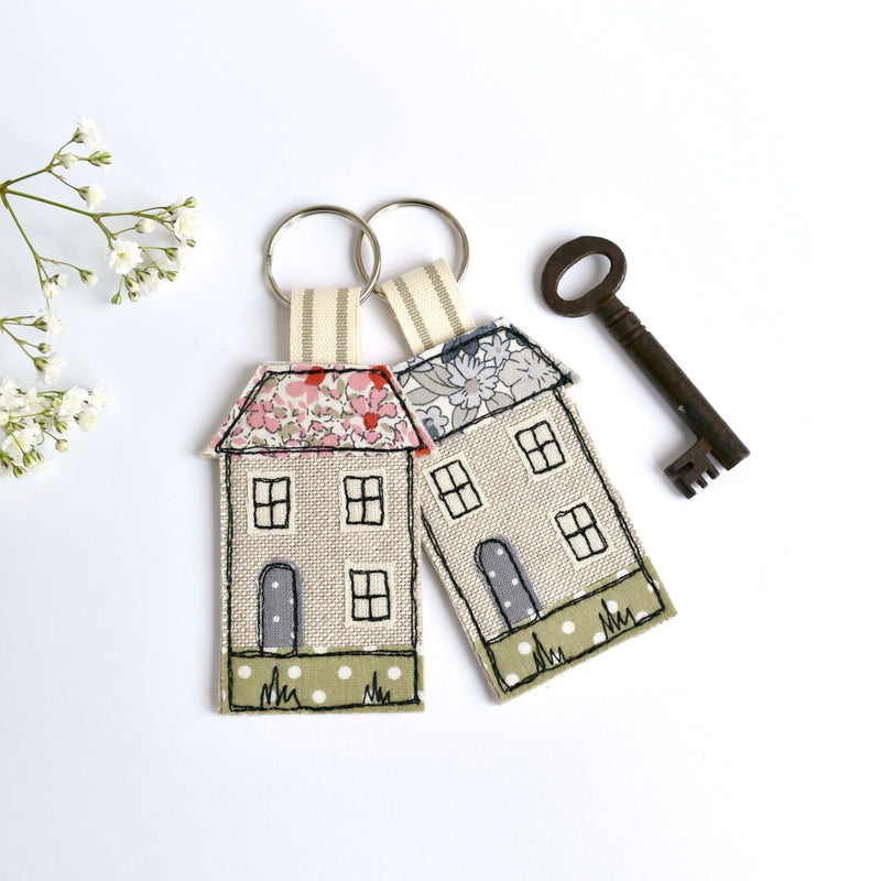 Handmade fabric keyring, new home key ring , house keyring by Stitch Galore