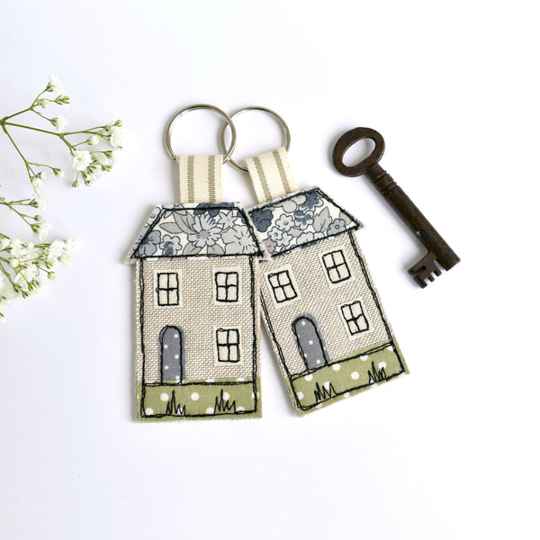 Embroidered house keyring, house keychain with blue fabric handmade by Stitch Galore