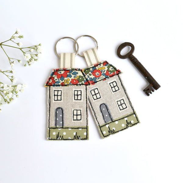 Embroidered house keyring, house keychain with red Liberty fabric handmade by Stitch Galore