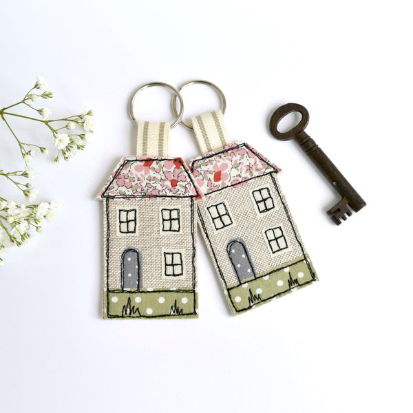 Embroidered house keyring, house keychain with pink fabric handmade by Stitch Galore