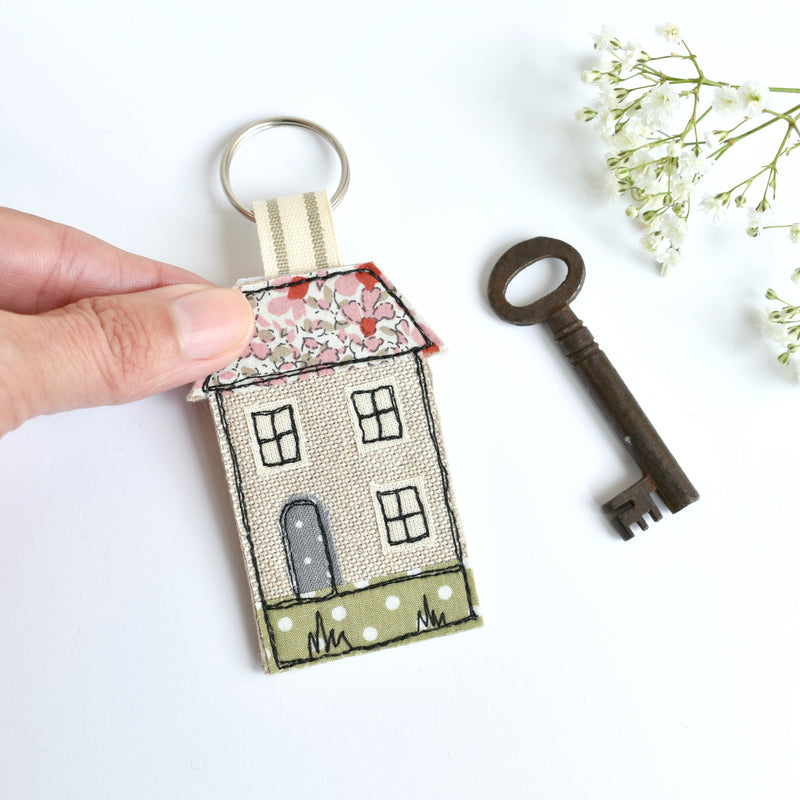 New home keyring, embroidered house keyfob with pink fabric handmade by Stitch Galore
