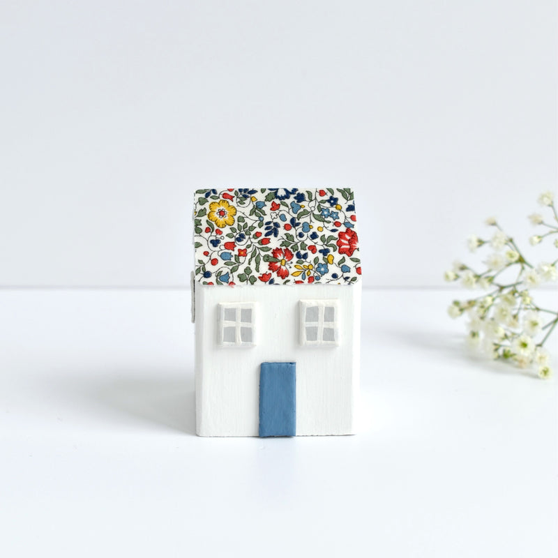 tiny wooden house ornament with blue Katie and Millie Liberty fabric handmade by stitch galore
