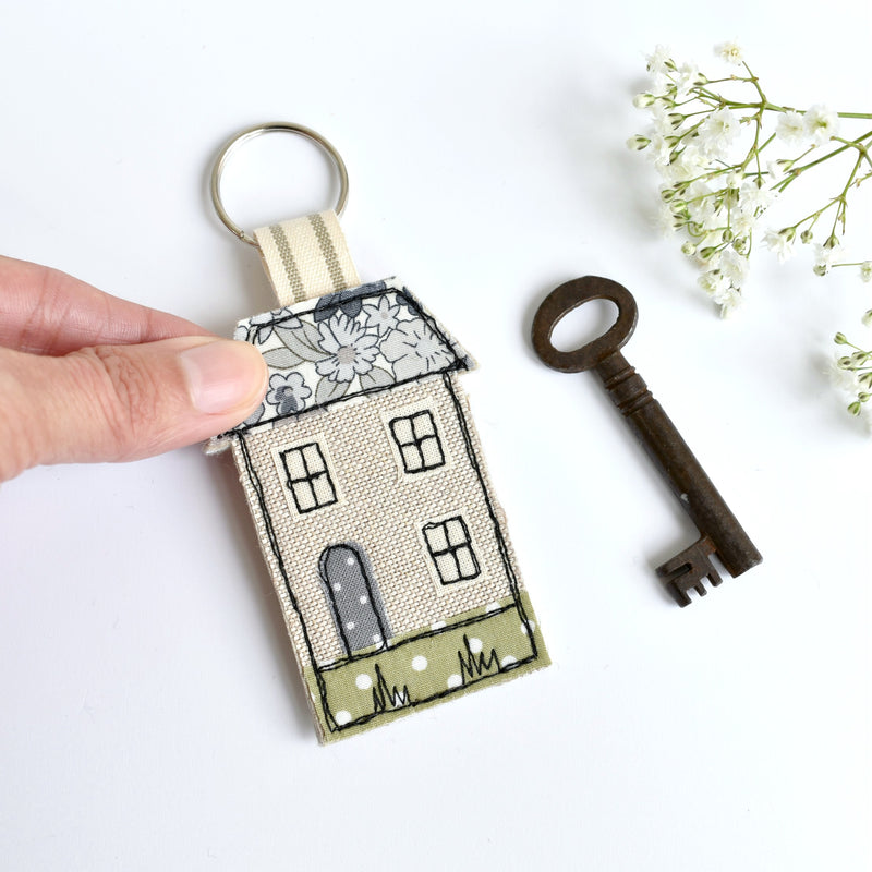 New home keyring, embroidered house keyfob with blue fabric handmade by Stitch Galore