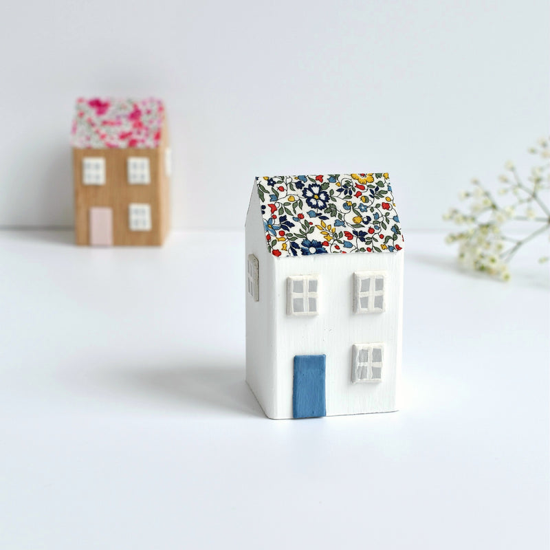 small wooden cottage ornament with blue Katie and Millie Liberty fabric handmade by stitch galore