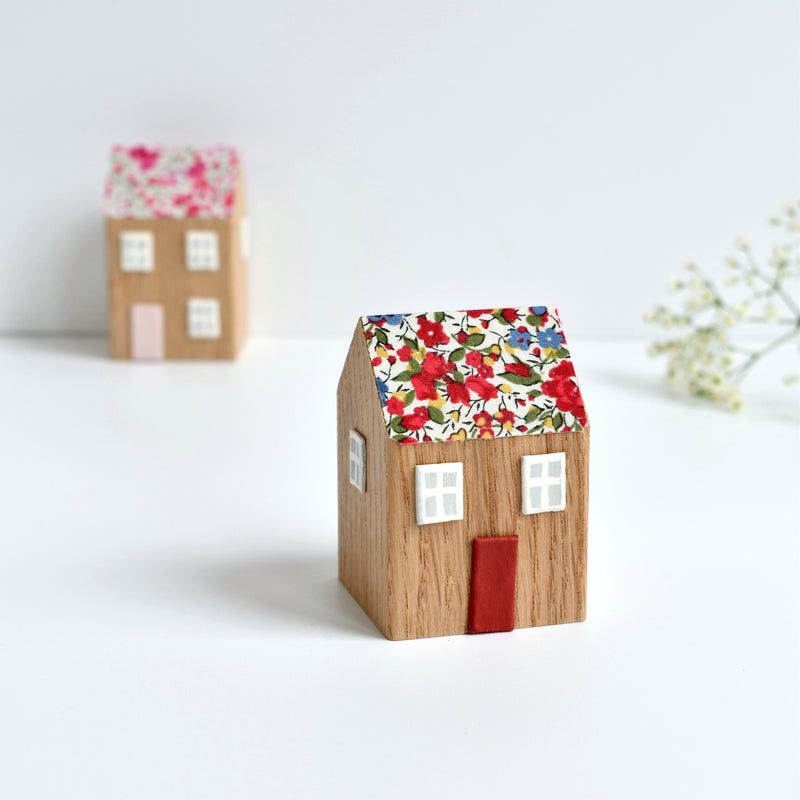 small wooden cottage ornament with red Emma and Georgina Liberty fabric handmade by stitch galore
