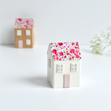 small wooden cottage ornament with pink Phoebe Liberty fabric handmade by stitch galore
