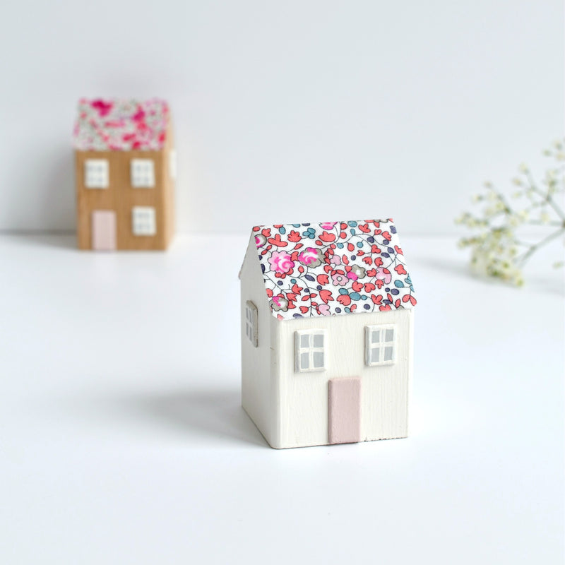 small wooden cottage ornament with pink Eloise Liberty fabric handmade by stitch galore