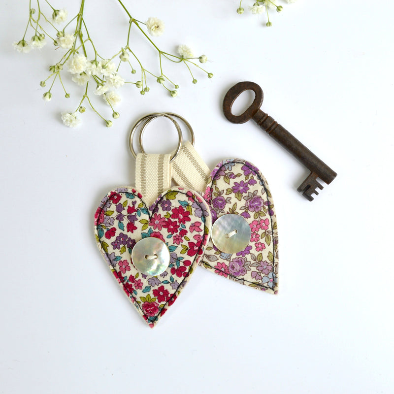 Embroidered heart keyring, heart keychain with floral fabric handmade by Stitch Galore