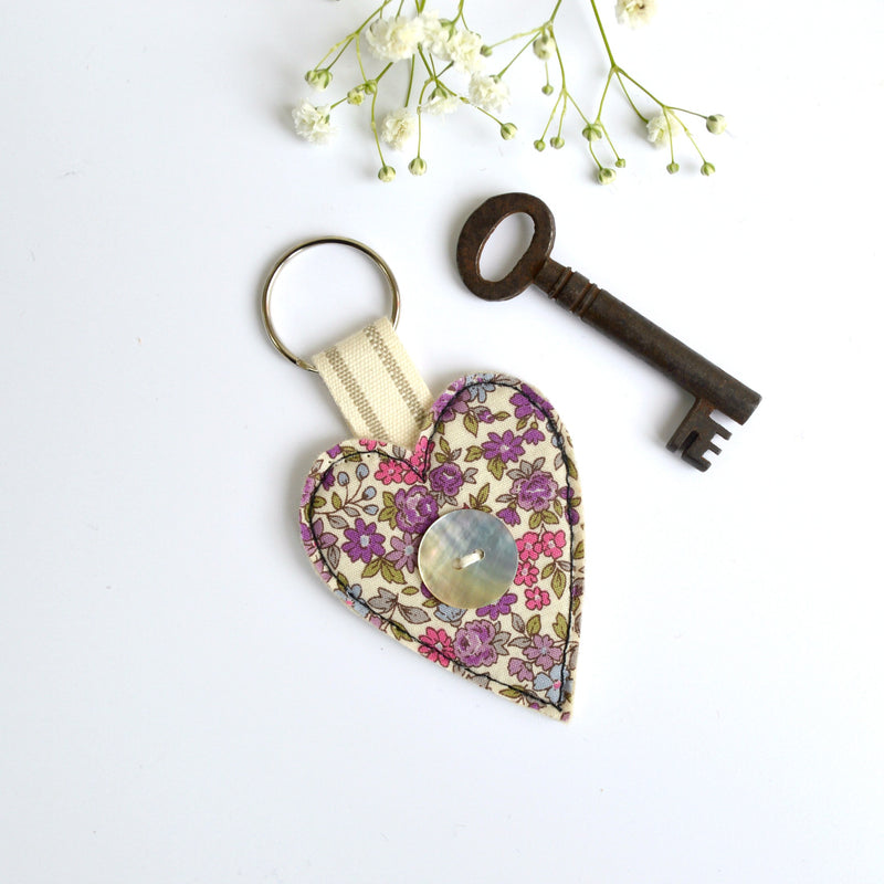 Handmade fabric keyring, new home key ring , heart keyring by Stitch Galore