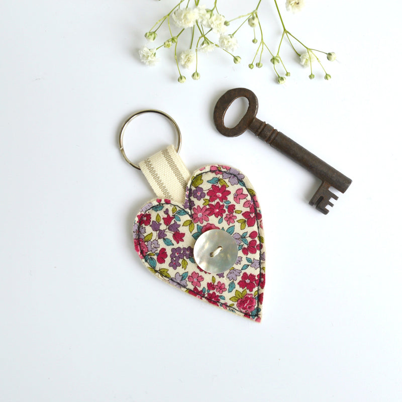 Embroidered heart keychain, heart key ring with pink fabric handmade by Stitch Galore