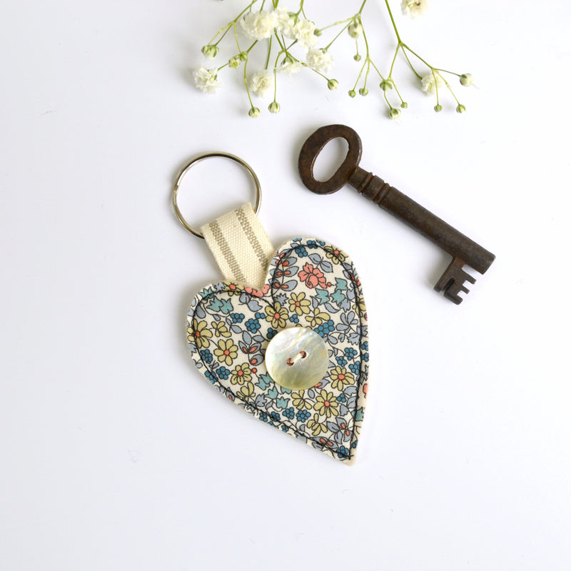 New home keyring, embroidered heart keyfob with blue fabric handmade by Stitch Galore