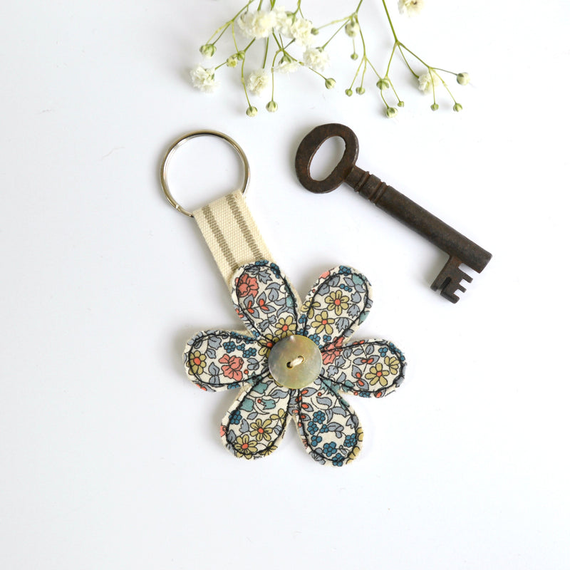 New home keyring, embroidered flower keyfob with blue fabric handmade by Stitch Galore