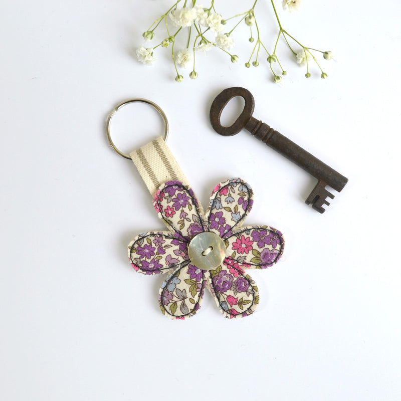 Handmade fabric keyring, new home key ring , flower keyring by Stitch Galore
