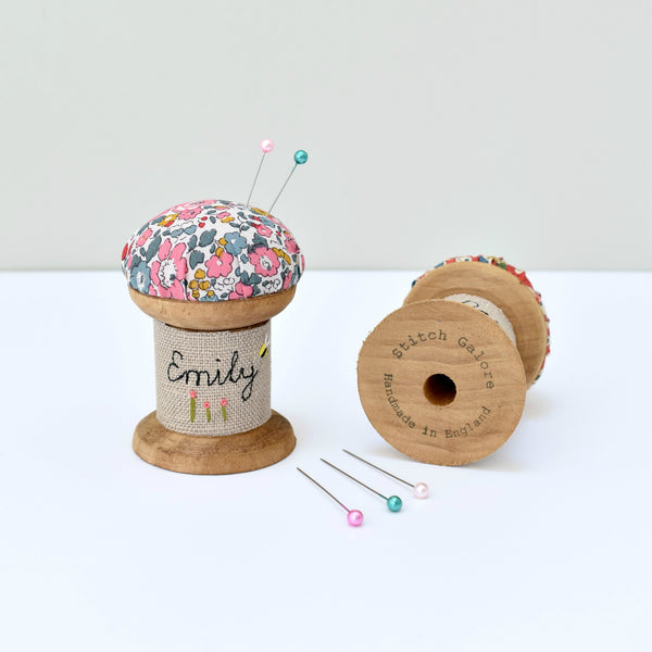Personalised pin cushion, embroidered pins and needles holder made using Liberty fabric handmade by Stitch Galore