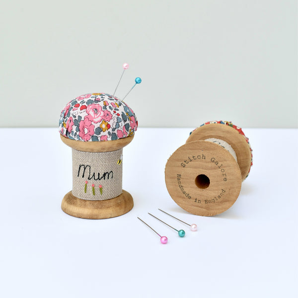 Personalised Mum pin cushion, embroidered pins and needles holder made using Liberty fabric handmade by Stitch Galore
