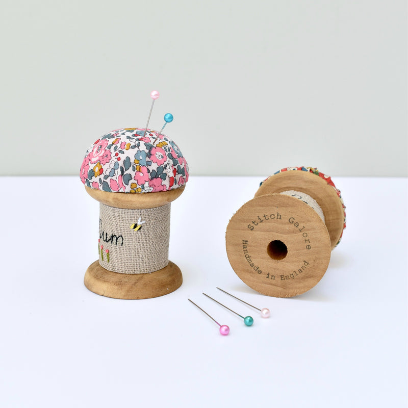 Personalised pincushion, needle holder, sewing gift for mum made with a wooden bobbin and Liberty fabric handmade by Stitch Galore