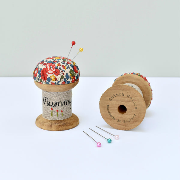 Personalised Mummy pin cushion, embroidered pins and needles holder made using Liberty fabric handmade by Stitch Galore