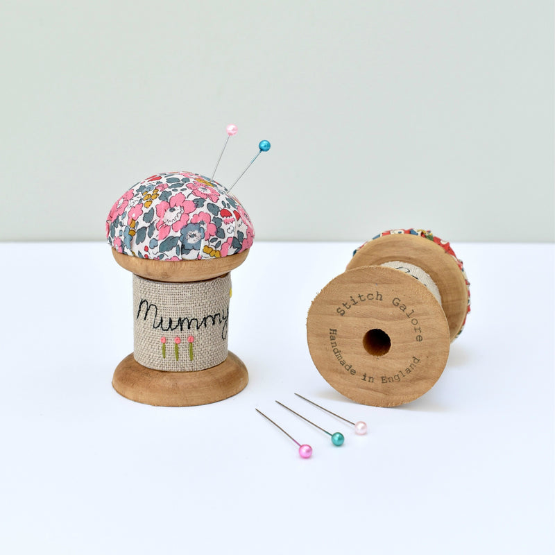 Pin cushion for Mum, personalised pins and needles holder made using Liberty of London fabric handmade by Stitch Galore