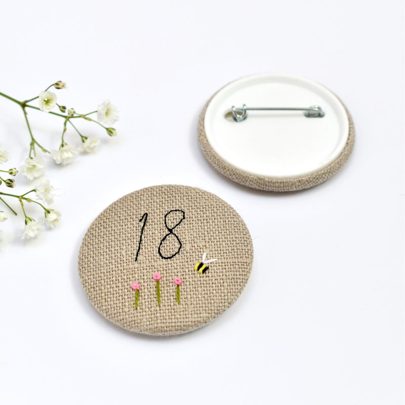 18th Birthday badge, embroidered birthday badge, personalised birthday badges handmade by Stitch Galore