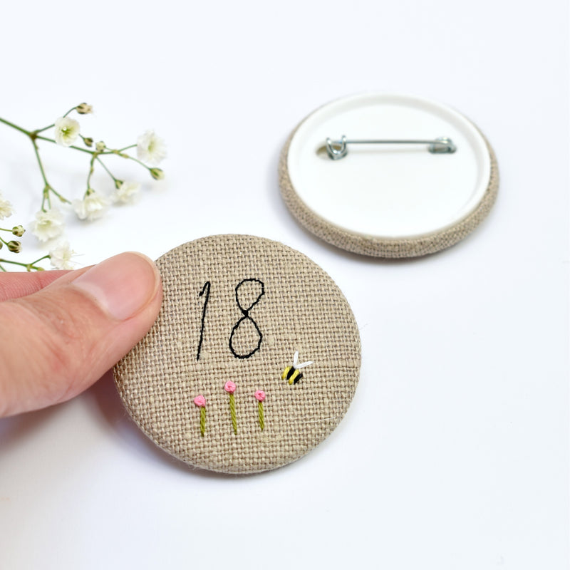 Personalised birthday badge, 18th Birthday badge, embroidered badge handmade by Stitch Galore