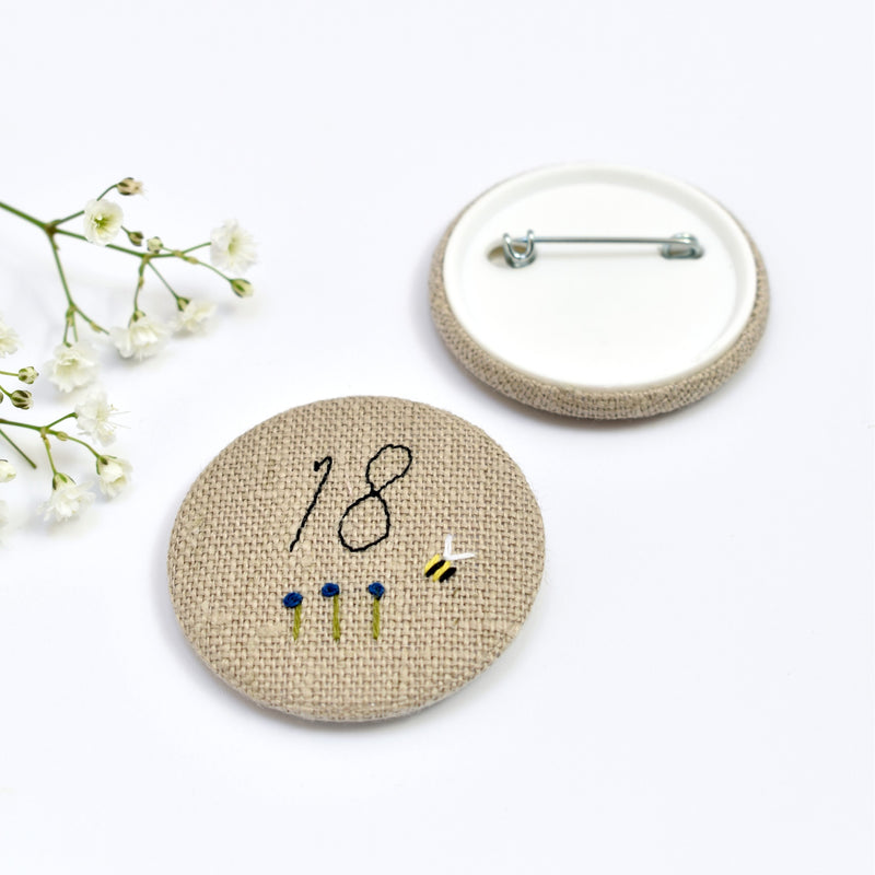 Embroidered 18th Birthday badge, embroidered badge, personalised birthday badges handmade by Stitch Galore