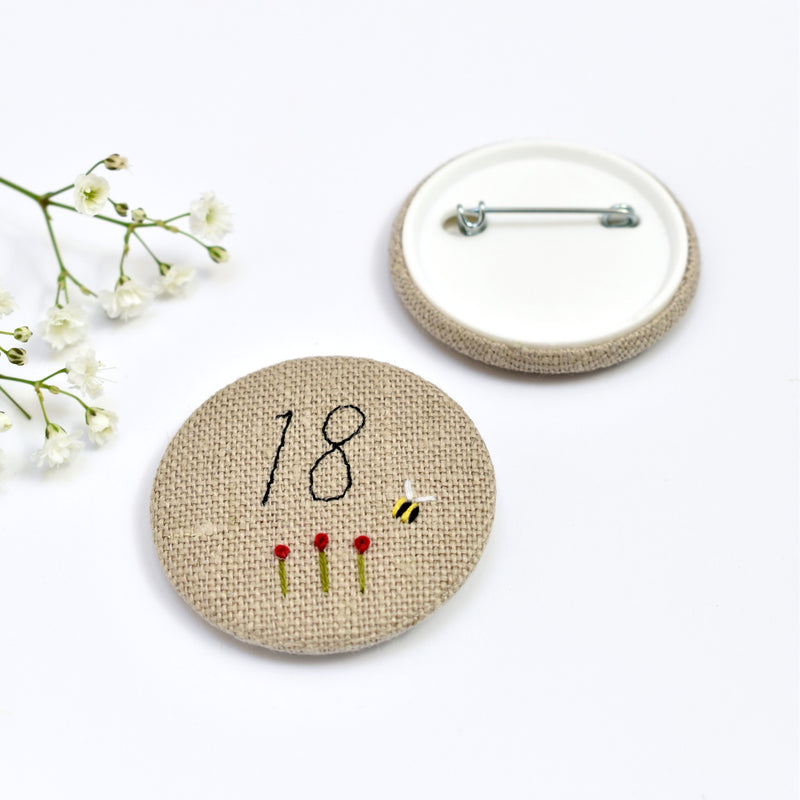 18th Birthday badge, embroidered badge, personalised birthday badges handmade by Stitch Galore