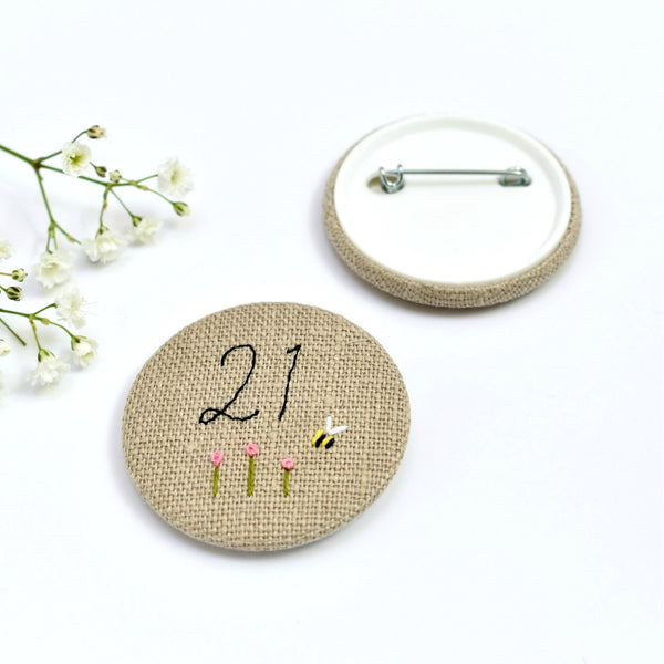 21st Birthday badge, embroidered badge, personalised birthday badges handmade by Stitch Galore