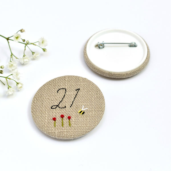 21st Birthday badge, embroidered birthday badge, personalised birthday badges handmade by Stitch Galore