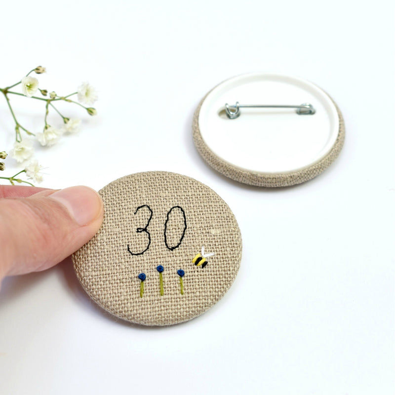Personalised birthday badge, 30th Birthday badge, embroidered badge handmade by Stitch Galore