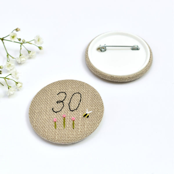 30th Birthday badge, embroidered birthday badge, personalised birthday badges handmade by Stitch Galore