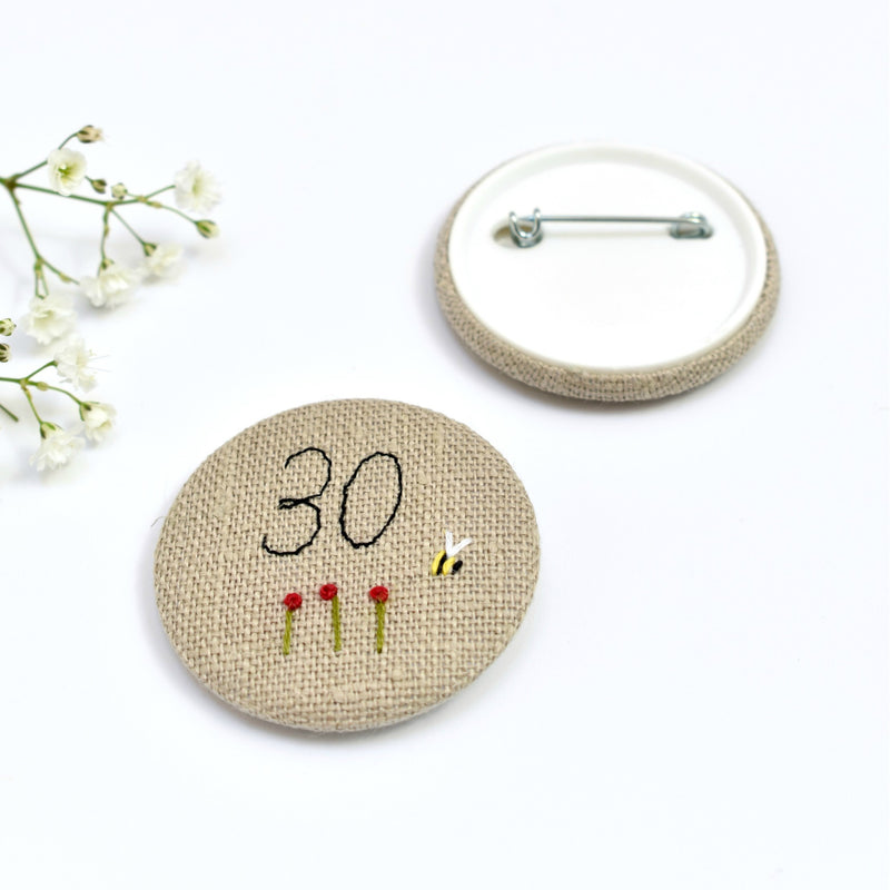 Embroidered 30th Birthday badge, embroidered badge, personalised birthday badges handmade by Stitch Galore