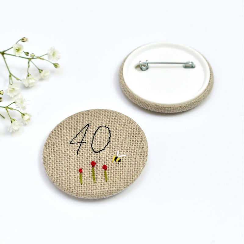 40th Birthday badge, embroidered, badge, personalised birthday badges handmade by Stitch Galore