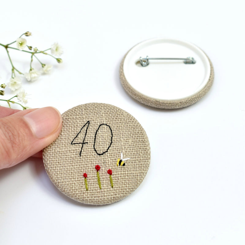 Personalised birthday badge, 40th Birthday badge, embroidered badge handmade by Stitch Galore
