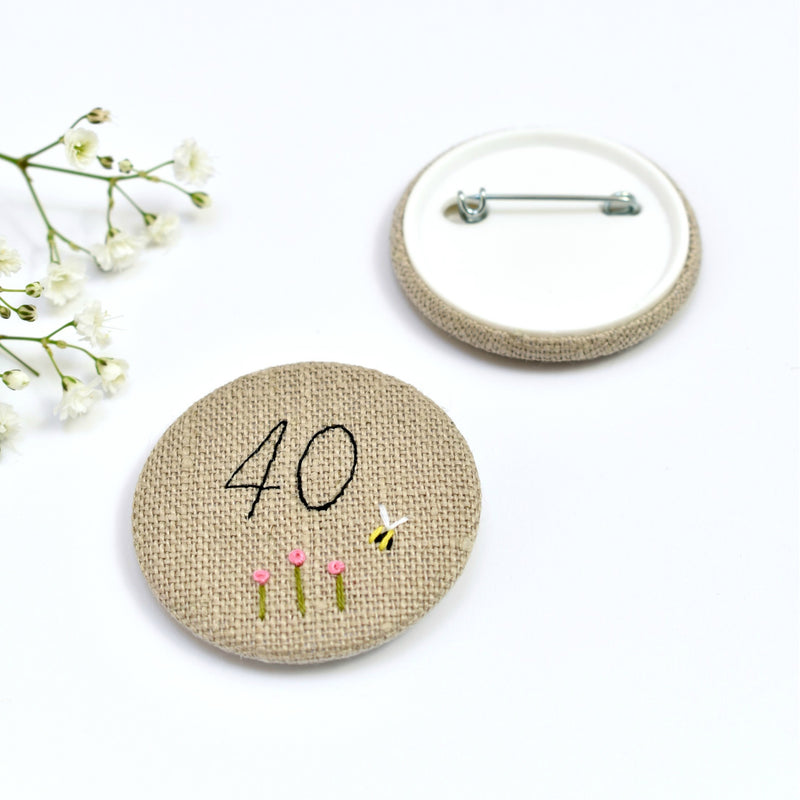 Embroidered 40th Birthday badge, embroidered badge, personalised birthday badges handmade by Stitch Galore